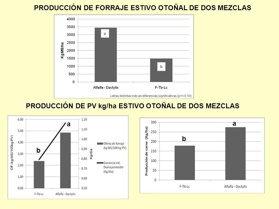 PRODUCCIÓN DE FORRAJE ESTIVO OTOÑAL DE DOS MEZCLAS