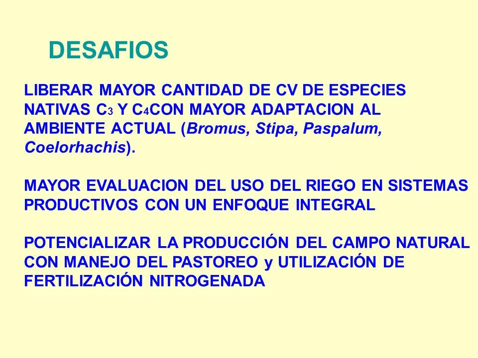 DESAFIOS LIBERAR MAYOR CANTIDAD DE CV DE ESPECIES