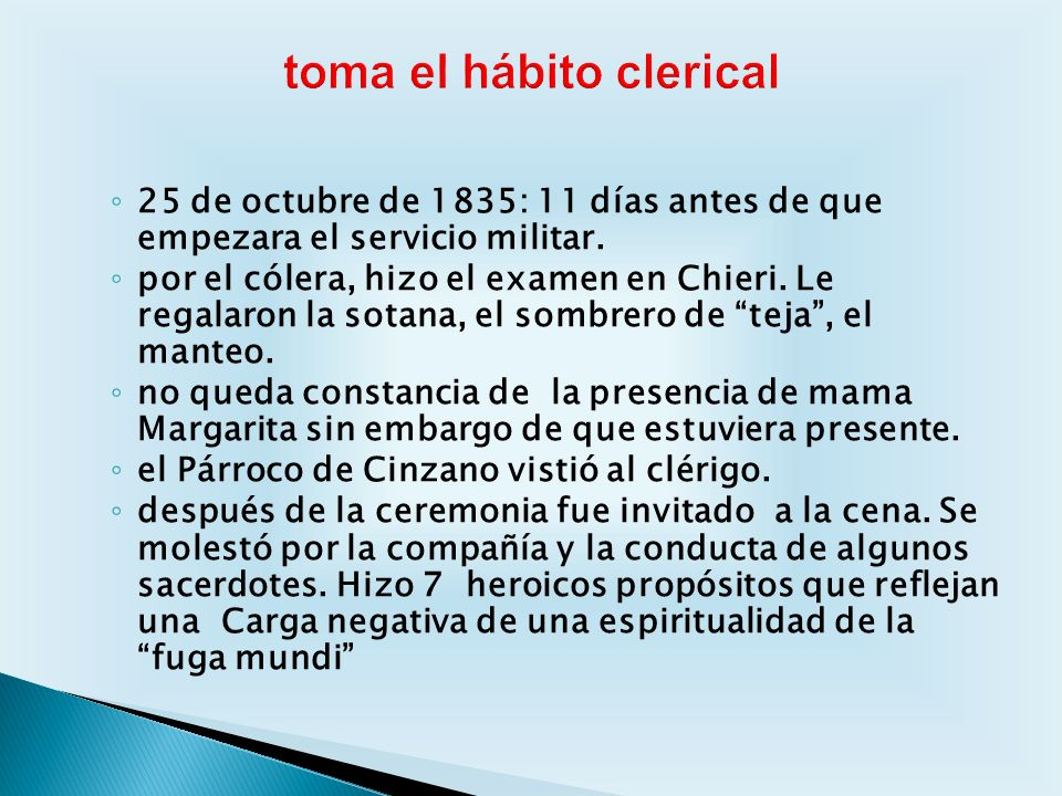 toma el hábito clerical