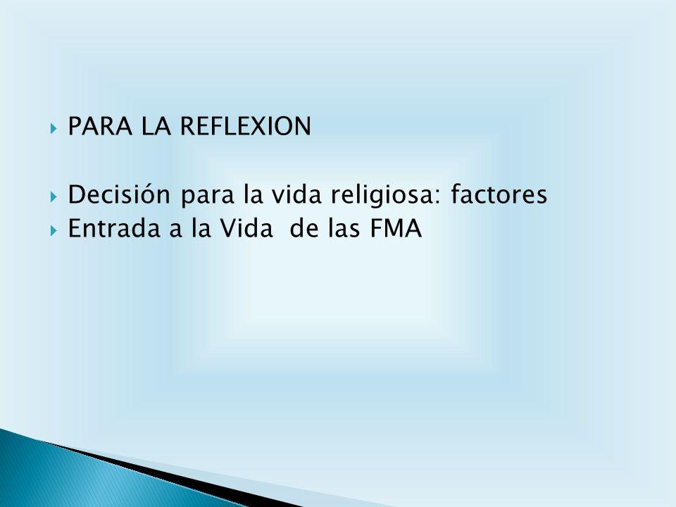 PARA LA REFLEXION Decisión para la vida religiosa: factores Entrada a la Vida de las FMA