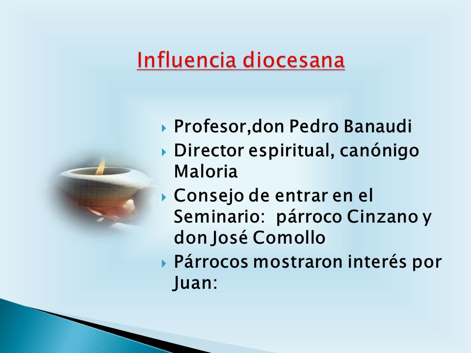 Influencia diocesana Profesor,don Pedro Banaudi