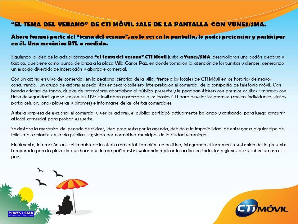 EL TEMA DEL VERANO DE CTI MÓVIL SALE DE LA PANTALLA CON YUNES/SMA.