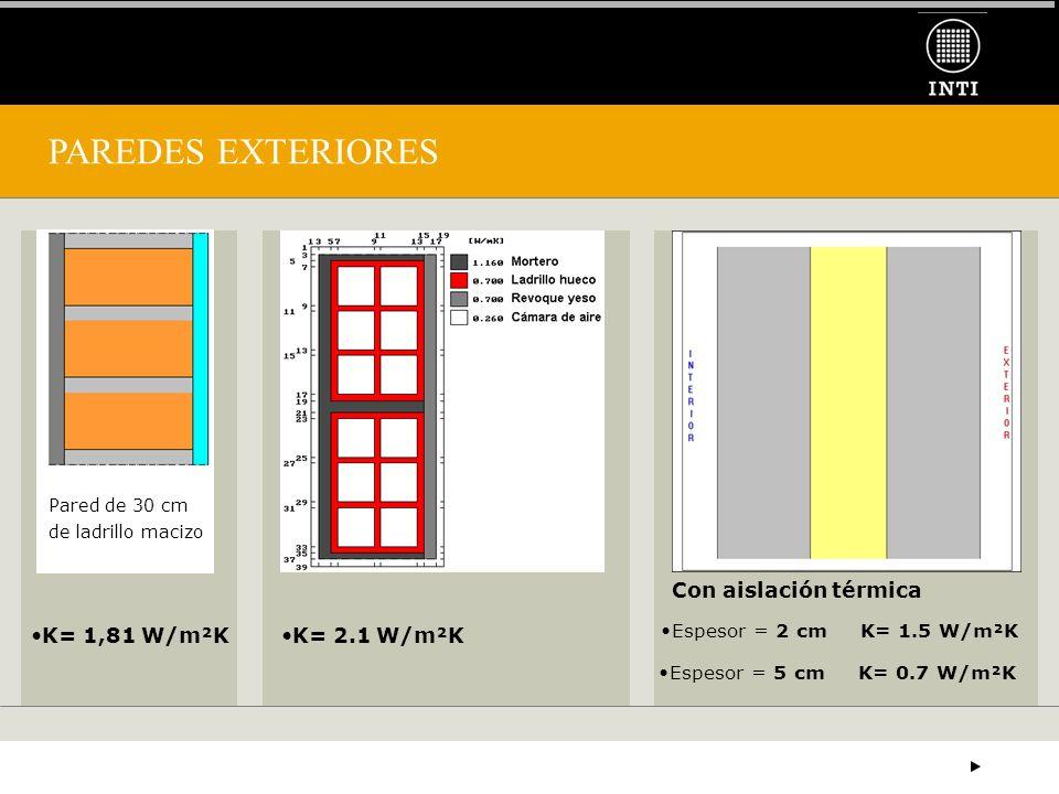 PAREDES EXTERIORES Con aislación térmica K= 1,81 W/m²K K= 2.1 W/m²K