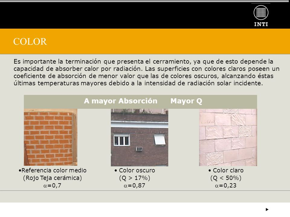 COLOR A mayor Absorción Mayor Q