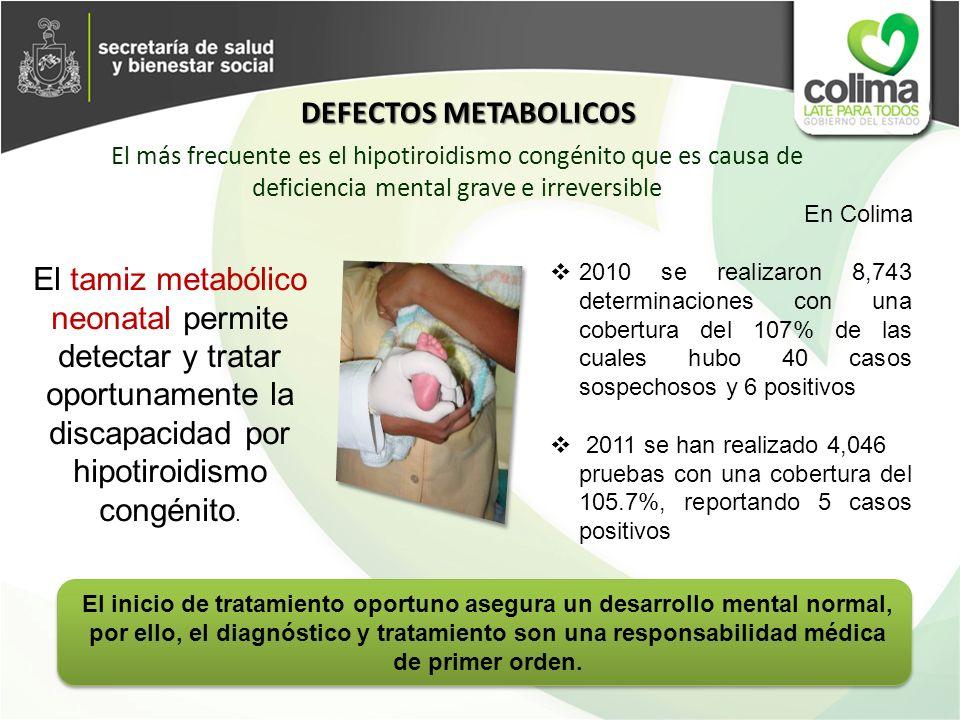 DEFECTOS METABOLICOS El más frecuente es el hipotiroidismo congénito que es causa de deficiencia mental grave e irreversible.