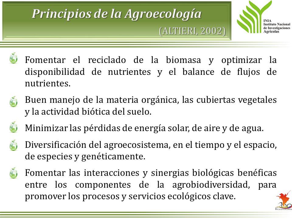 Principios de la Agroecología (ALTIERI, 2002)