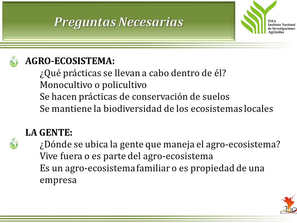 Preguntas Necesarias AGRO-ECOSISTEMA: