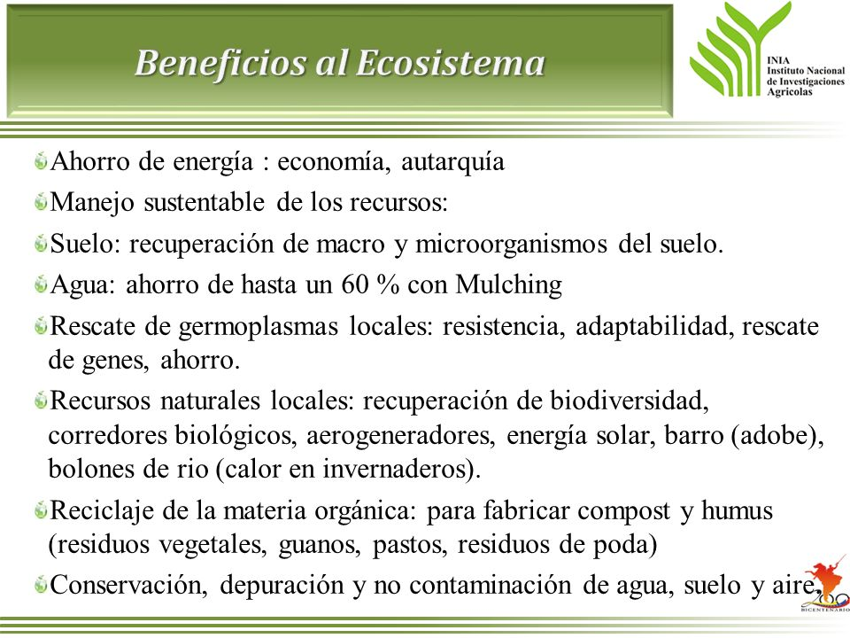 Beneficios al Ecosistema