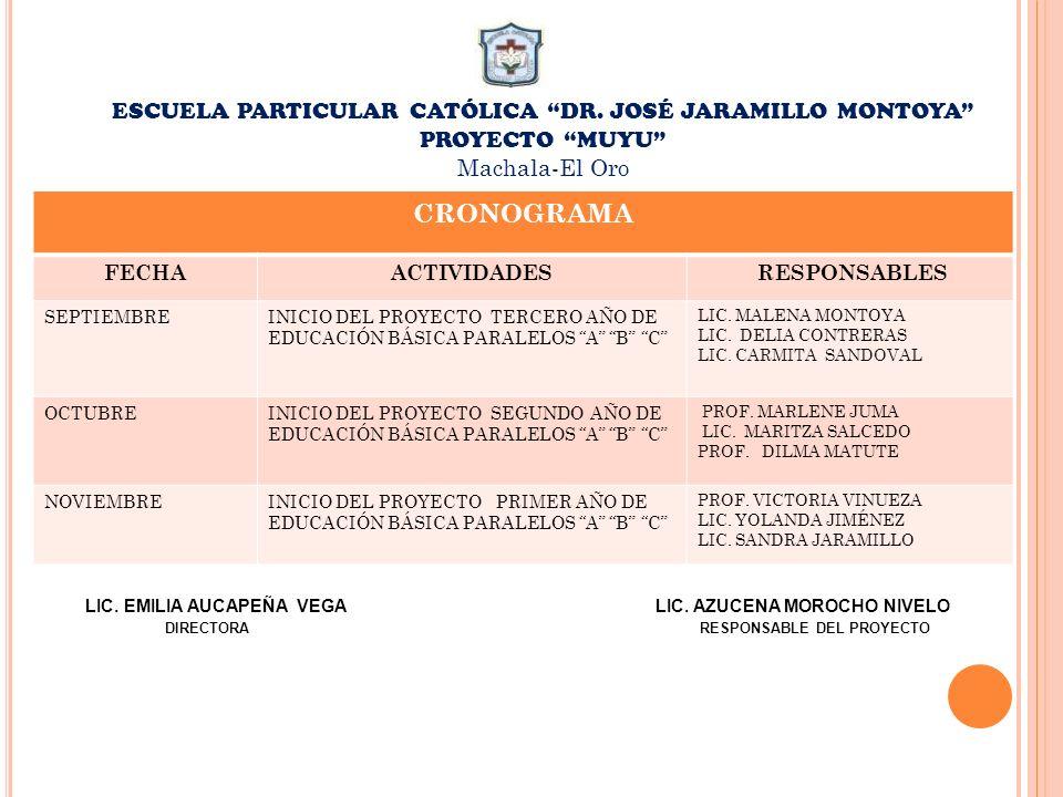 CRONOGRAMA ESCUELA PARTICULAR CATÓLICA DR. JOSÉ JARAMILLO MONTOYA