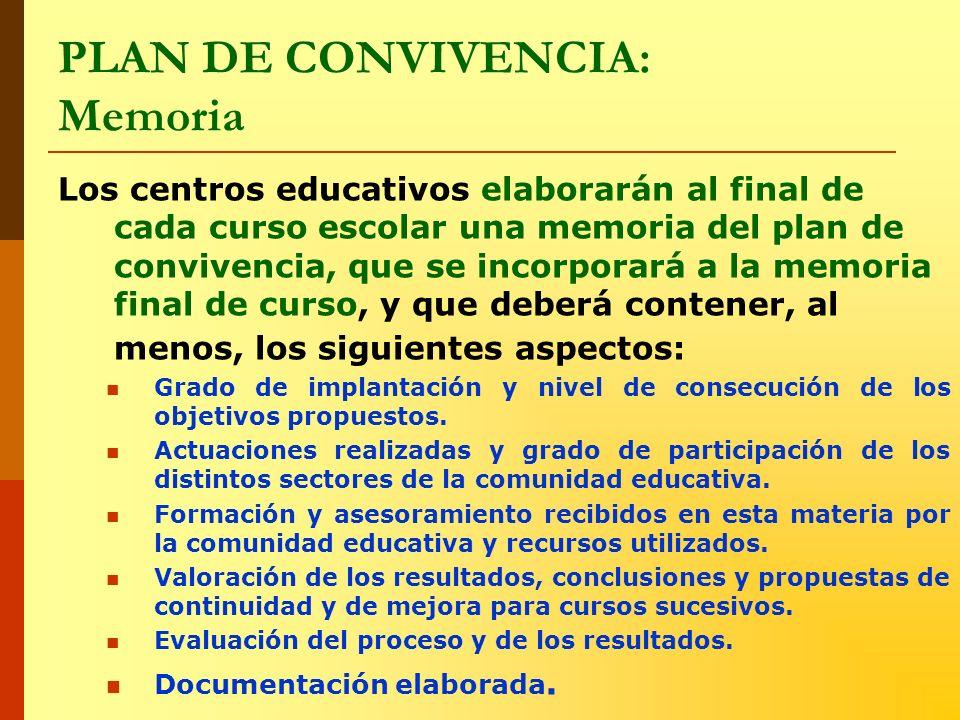 PLAN DE CONVIVENCIA: Memoria