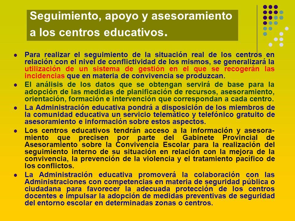 Seguimiento, apoyo y asesoramiento a los centros educativos.