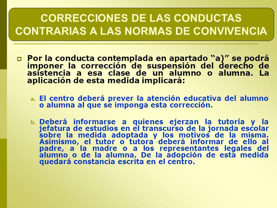 CORRECCIONES DE LAS CONDUCTAS CONTRARIAS A LAS NORMAS DE CONVIVENCIA
