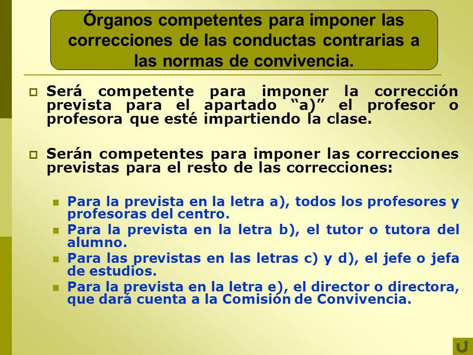 Órganos competentes para imponer las correcciones de las conductas contrarias a las normas de convivencia.