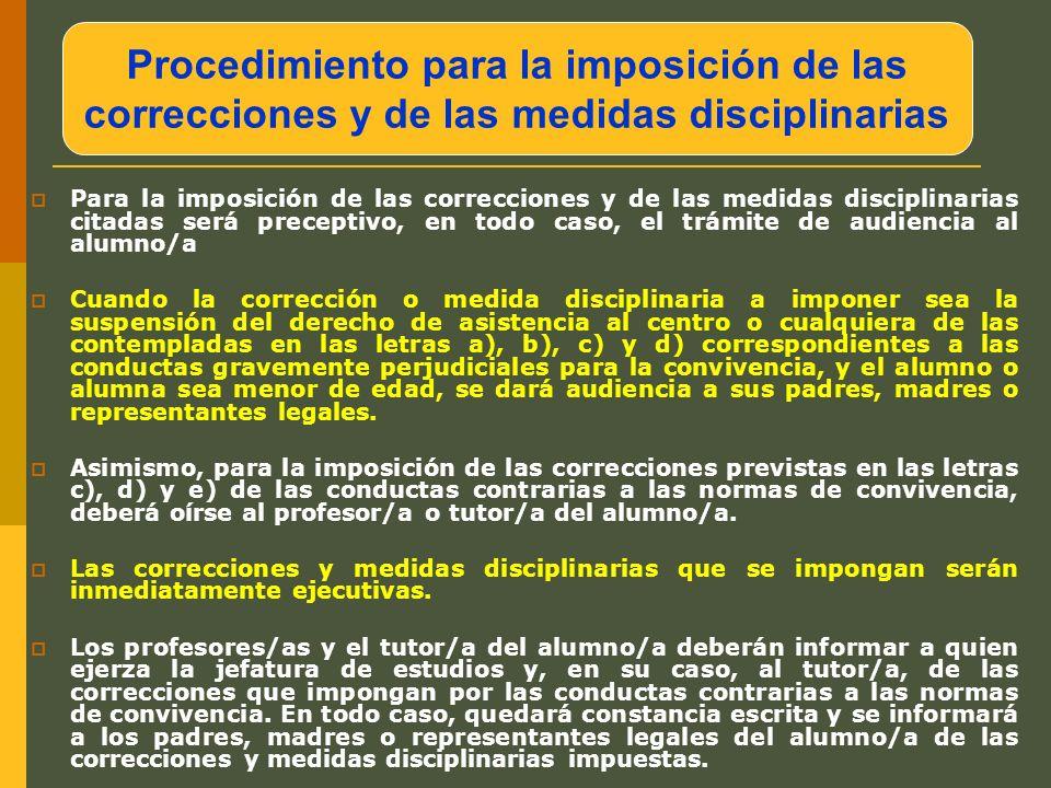 Procedimiento para la imposición de las correcciones y de las medidas disciplinarias