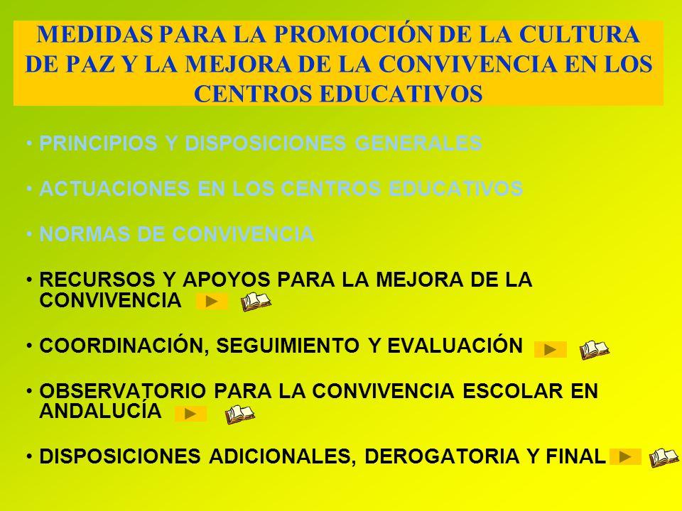 MEDIDAS PARA LA PROMOCIÓN DE LA CULTURA DE PAZ Y LA MEJORA DE LA CONVIVENCIA EN LOS CENTROS EDUCATIVOS