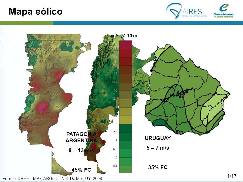 Mapa eólico PATAGONIA ARGENTINA URUGUAY 8 – 13 m/s 5 – 7 m/s 45% FC