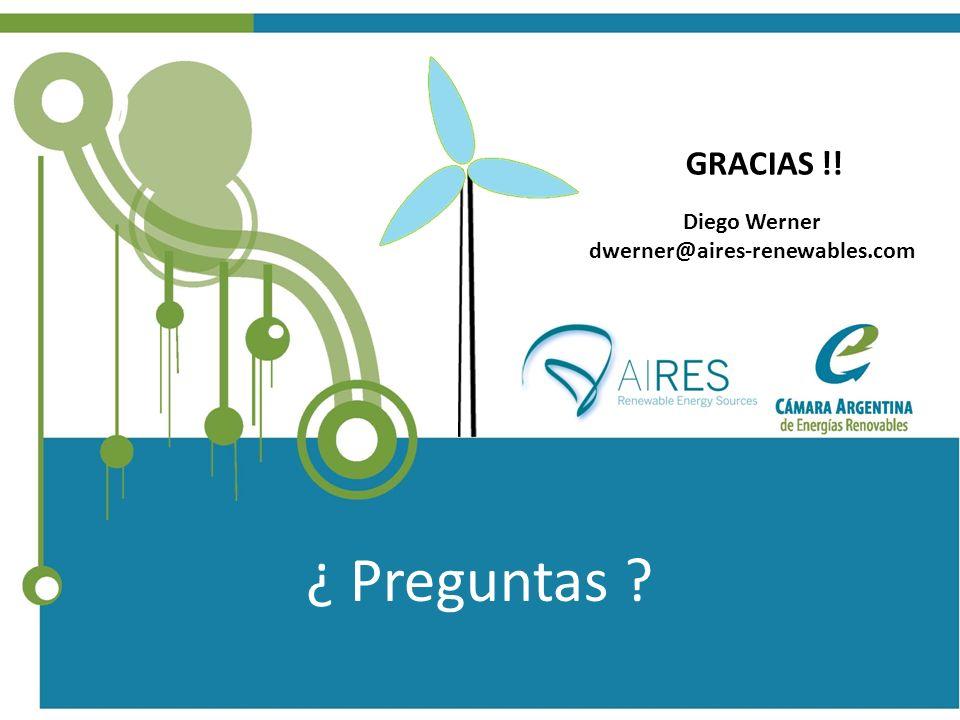 GRACIAS !! Diego Werner dwerner@aires-renewables.com ¿ Preguntas