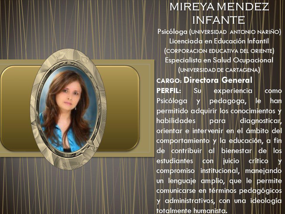 MIREYA MENDEZ INFANTE Psicóloga (UNIVERSIDAD ANTONIO NARIÑO) Licenciada en Educación Infantil (CORPORACION EDUCATIVA DEL ORIENTE)