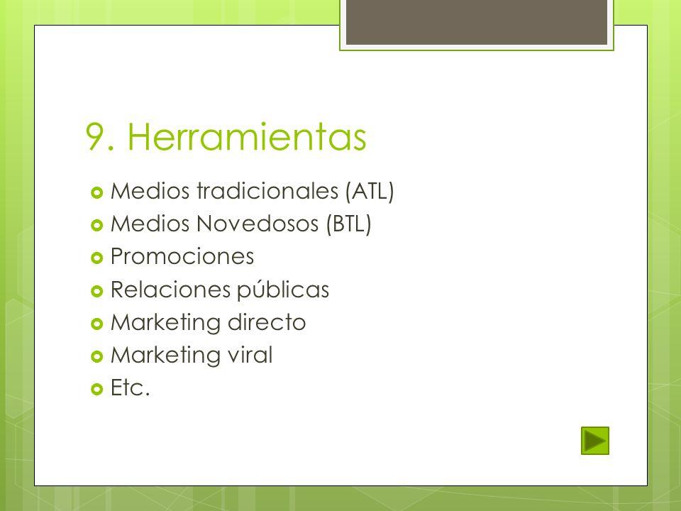 9. Herramientas Medios tradicionales (ATL) Medios Novedosos (BTL)