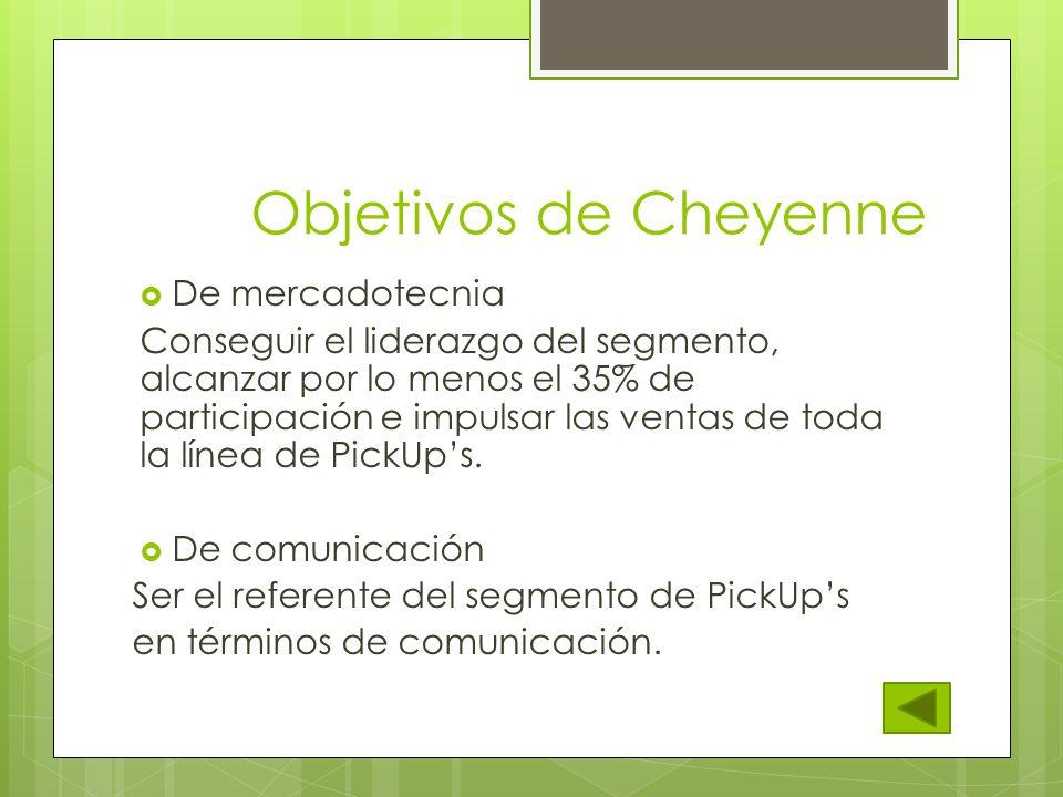 Objetivos de Cheyenne De mercadotecnia