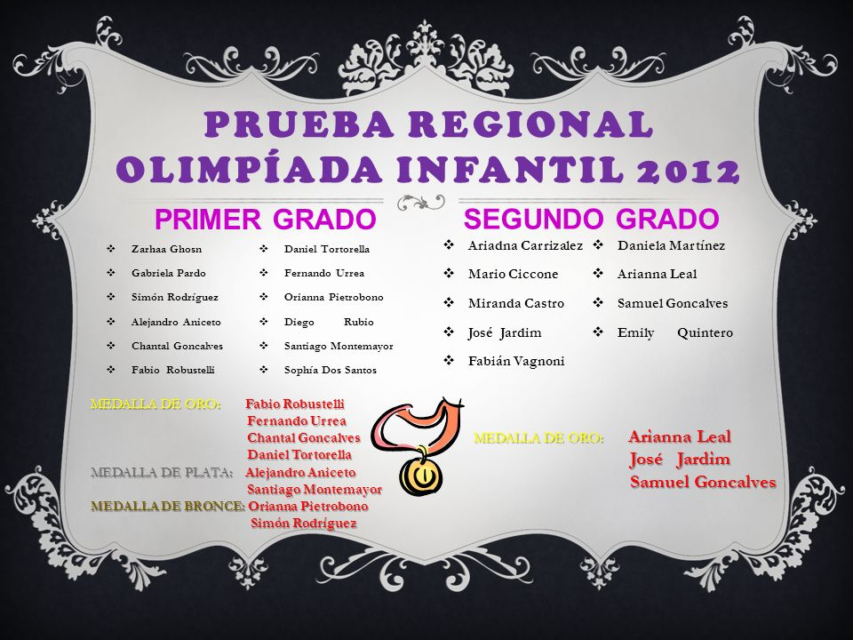 Prueba Regional Olimpíada Infantil 2012