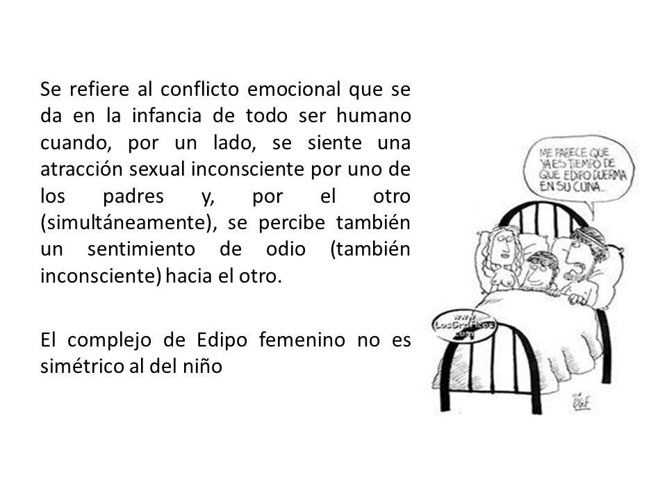 Se refiere al conflicto emocional que se da en la infancia de todo ser humano cuando, por un lado, se siente una atracción sexual inconsciente por uno de los padres y, por el otro (simultáneamente), se percibe también un sentimiento de odio (también inconsciente) hacia el otro.
