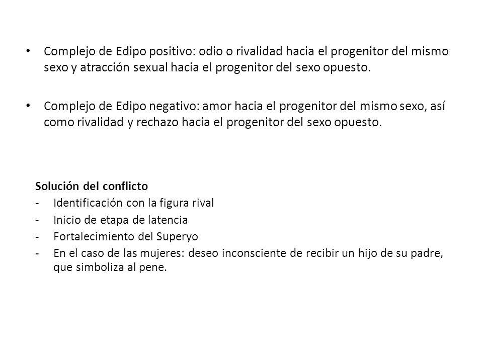 Complejo de Edipo positivo: odio o rivalidad hacia el progenitor del mismo sexo y atracción sexual hacia el progenitor del sexo opuesto.