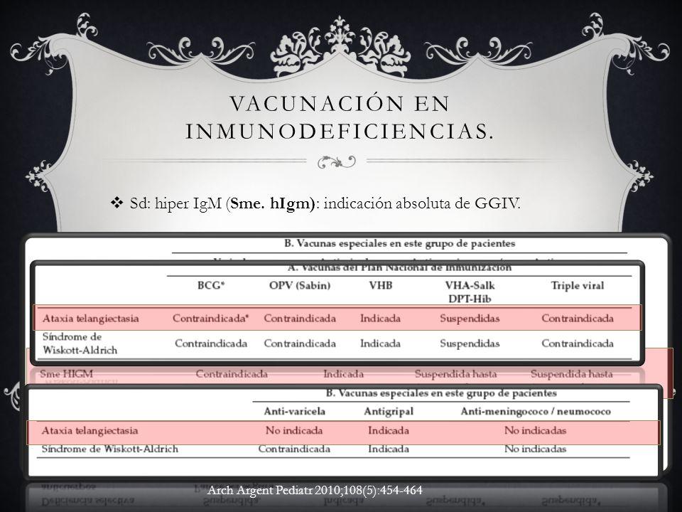 Vacunación en inmunodeficiencias.