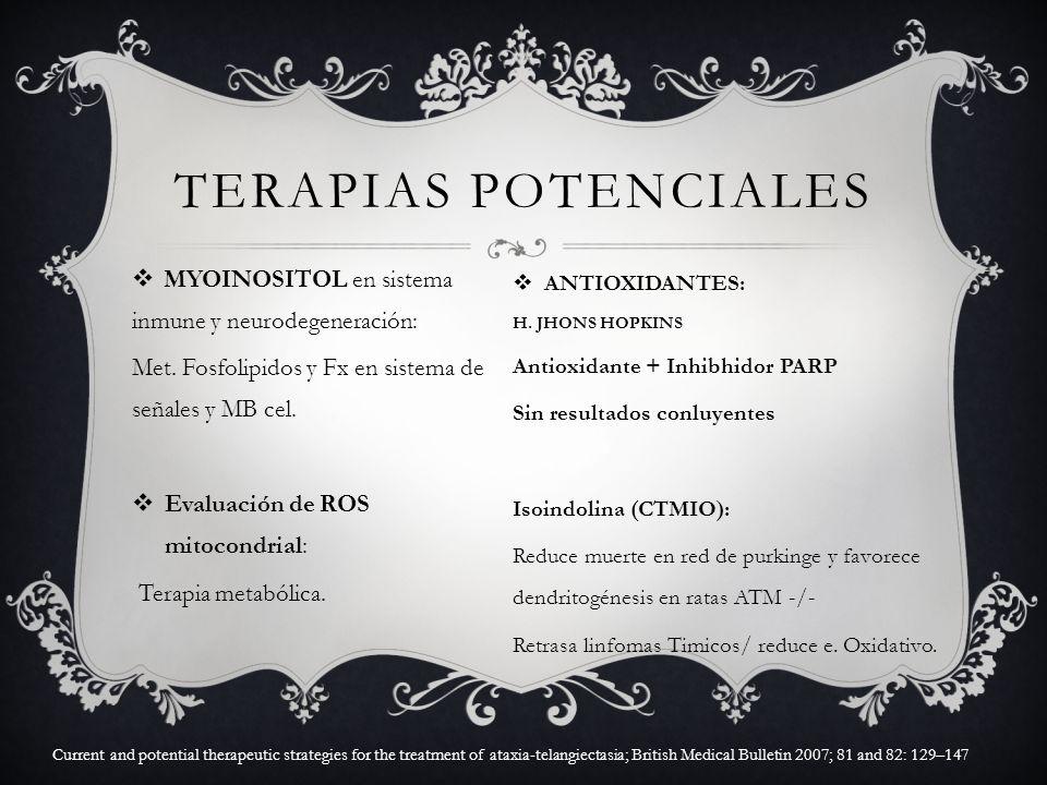 Terapias potenciales MYOINOSITOL en sistema inmune y neurodegeneración: Met. Fosfolipidos y Fx en sistema de señales y MB cel.