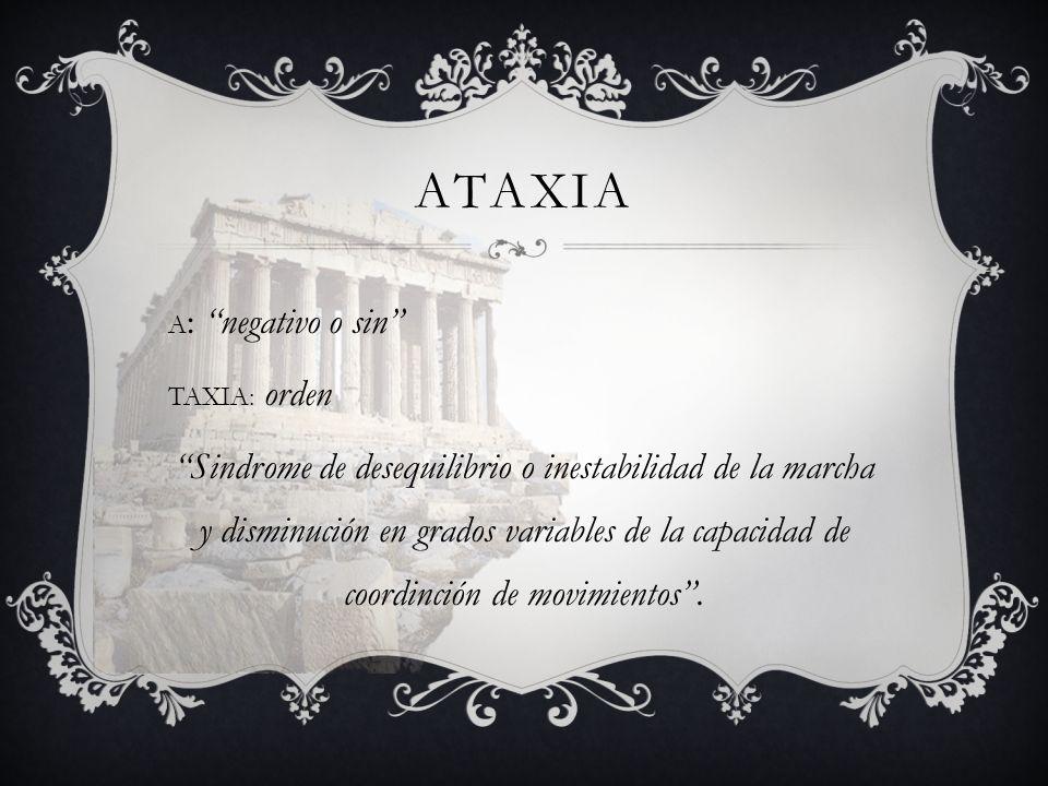 ATAXIA A: negativo o sin TAXIA: orden.