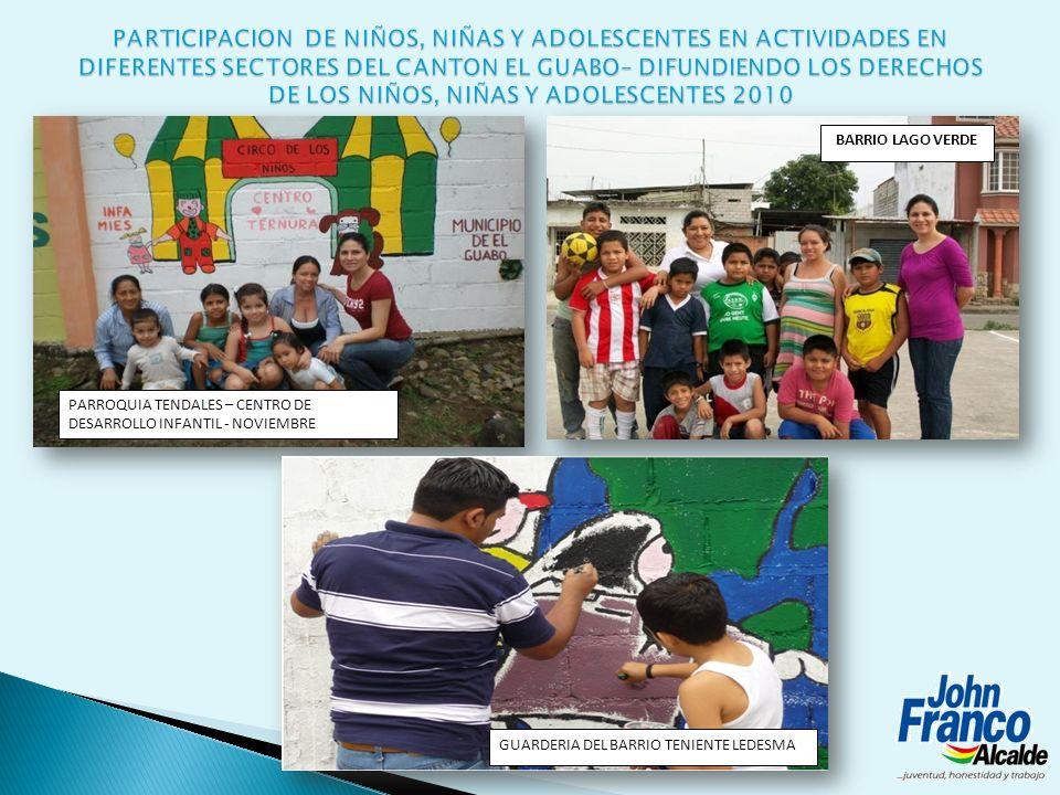 PARTICIPACION DE NIÑOS, NIÑAS Y ADOLESCENTES EN ACTIVIDADES EN DIFERENTES SECTORES DEL CANTON EL GUABO– DIFUNDIENDO LOS DERECHOS DE LOS NIÑOS, NIÑAS Y ADOLESCENTES 2010