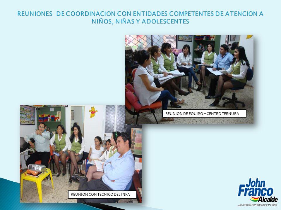 REUNIONES DE COORDINACION CON ENTIDADES COMPETENTES DE ATENCION A NIÑOS, NIÑAS Y ADOLESCENTES