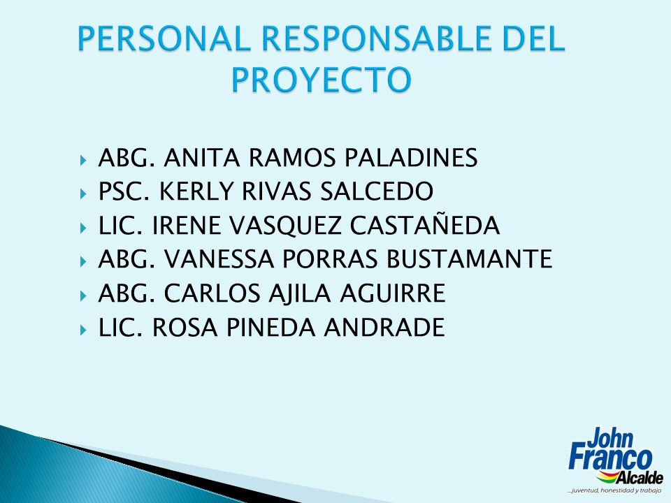 PERSONAL RESPONSABLE DEL PROYECTO