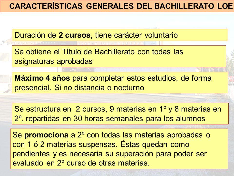 CARACTERÍSTICAS GENERALES DEL BACHILLERATO LOE