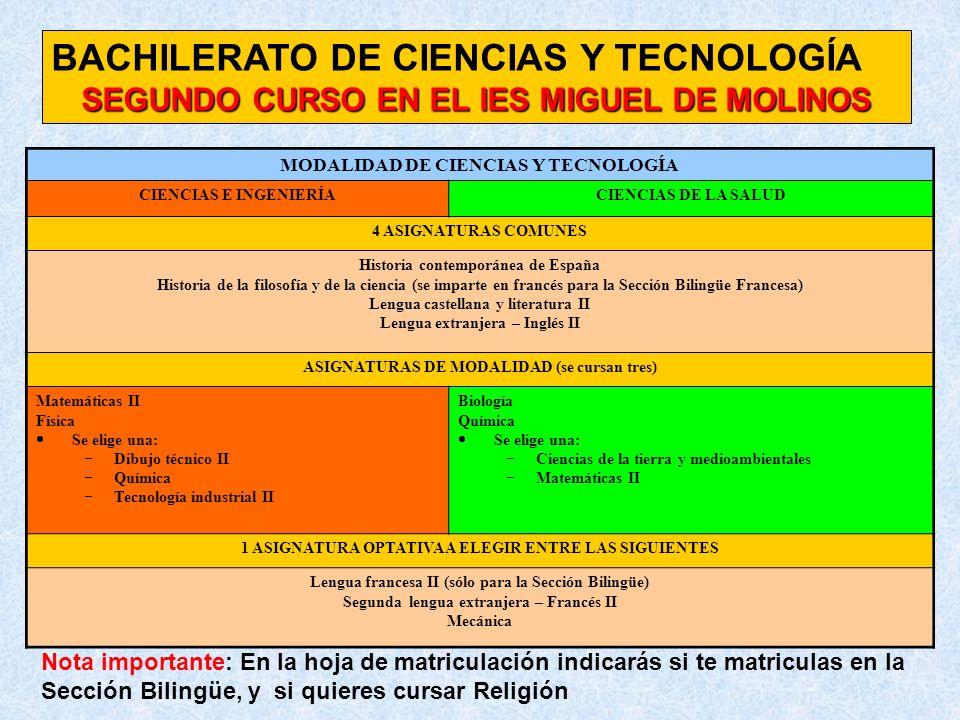 BACHILERATO DE CIENCIAS Y TECNOLOGÍA