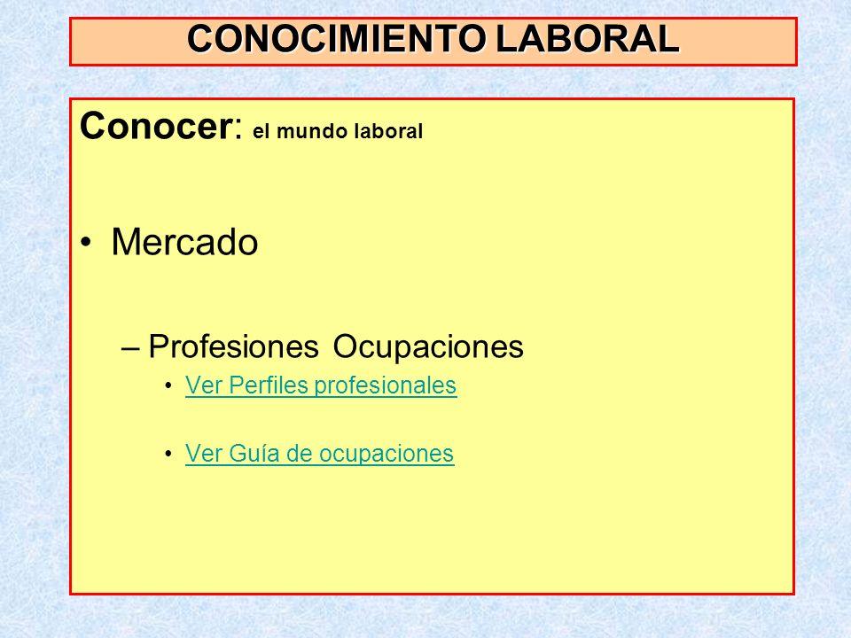 Conocer: el mundo laboral Mercado