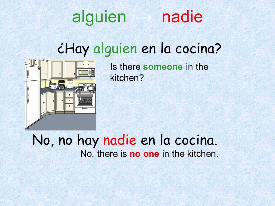 alguien → nadie ¿Hay alguien en la cocina