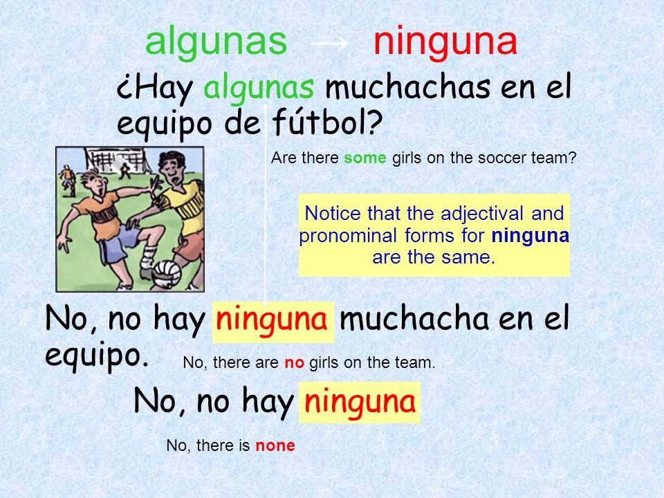 algunas → ninguna ¿Hay algunas muchachas en el equipo de fútbol
