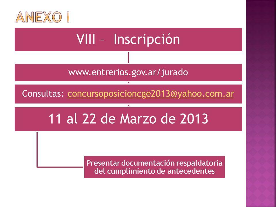 ANEXO I 11 al 22 de Marzo de 2013 VIII – Inscripción