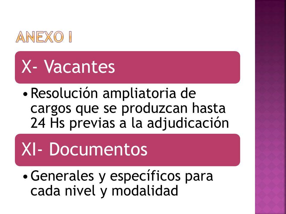 ANEXO I X- Vacantes. Resolución ampliatoria de cargos que se produzcan hasta 24 Hs previas a la adjudicación.