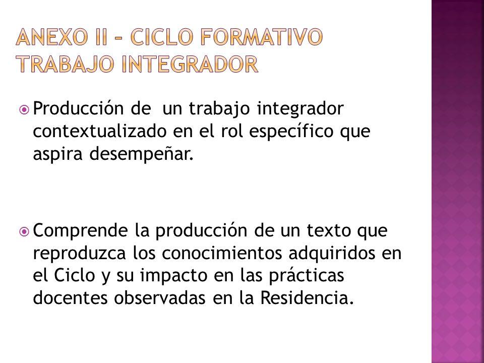 ANEXO II – CICLO FORMATIVO Trabajo integrador