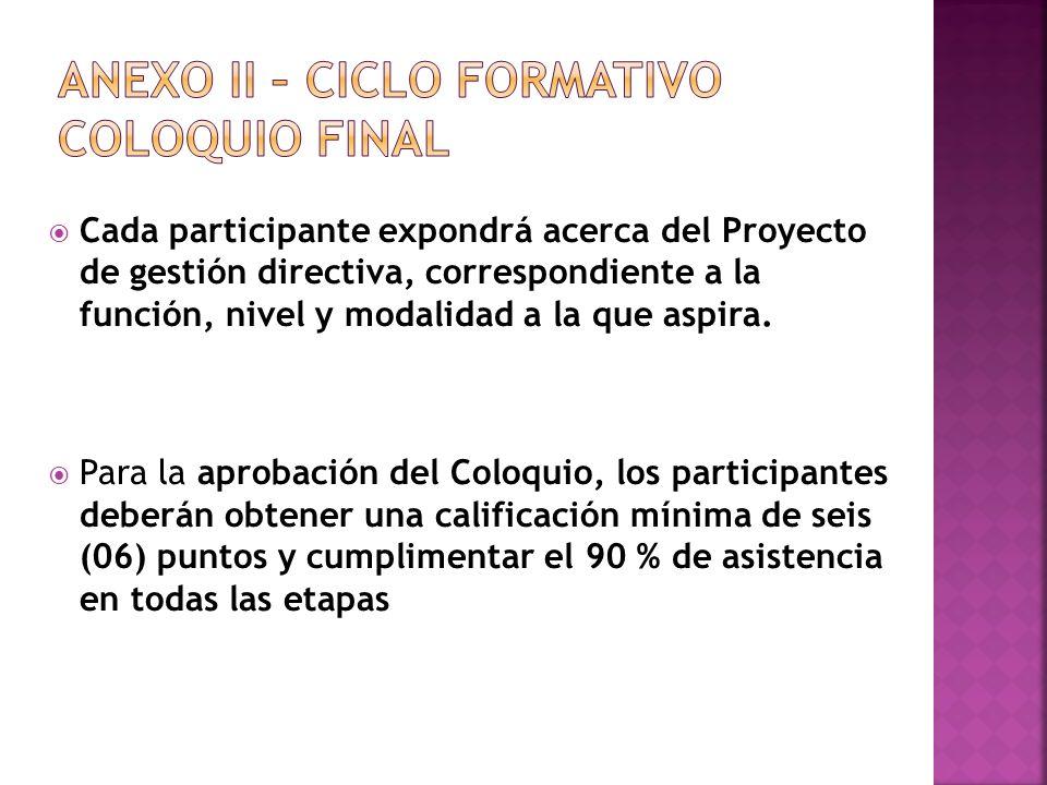 ANEXO II – CICLO FORMATIVO Coloquio Final