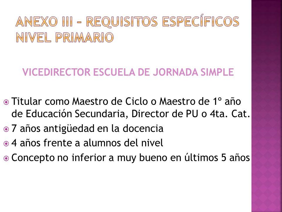 ANEXO III – REQUISITOS específicos nivel PRIMARIO