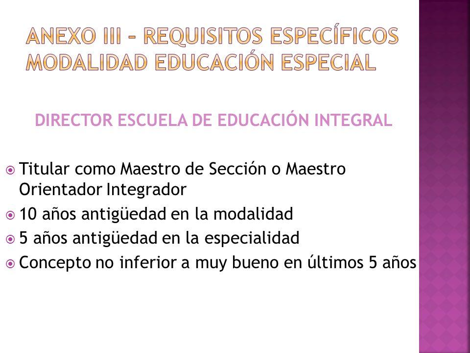 ANEXO III – REQUISITOS específicos MODALIDAD EDUCACIÓN ESPECIAL