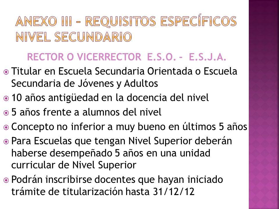 ANEXO III – REQUISITOS específicos nivel SECUNDARIO