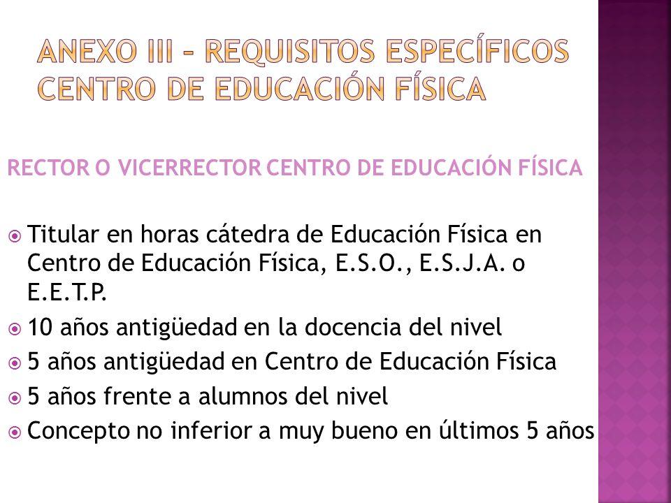 ANEXO III – REQUISITOS específicos CENTRO DE EDUCACIÓN FÍSICA