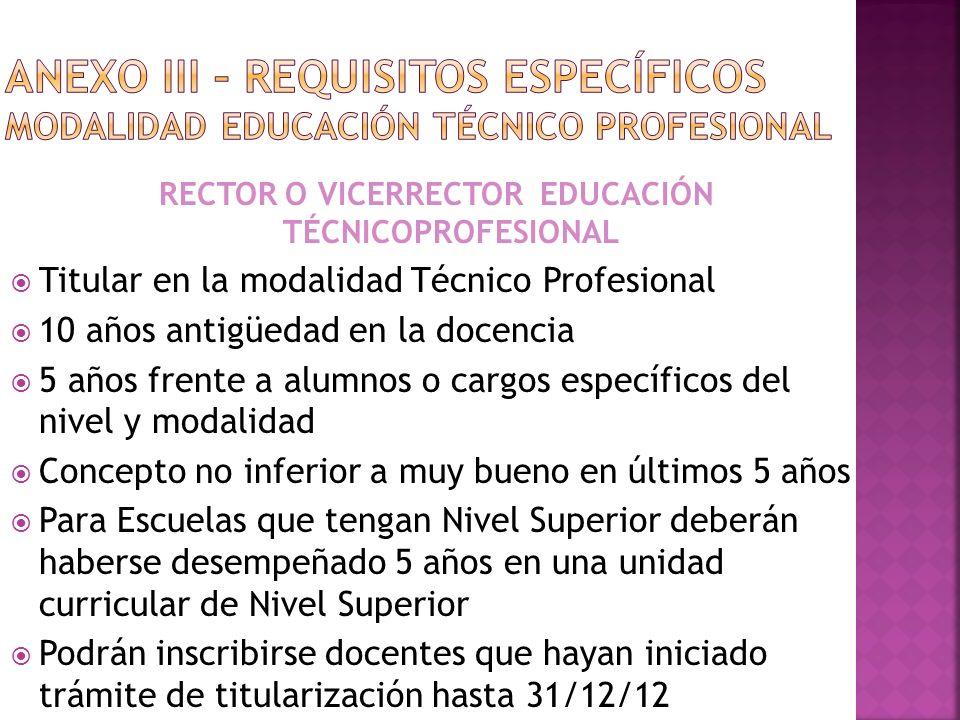 RECTOR O VICERRECTOR EDUCACIÓN TÉCNICOPROFESIONAL
