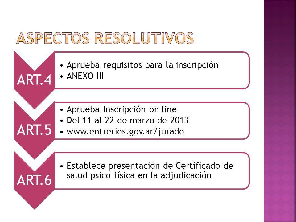 ASPECTOS RESOLUTIVOS ART.4 Aprueba requisitos para la inscripción
