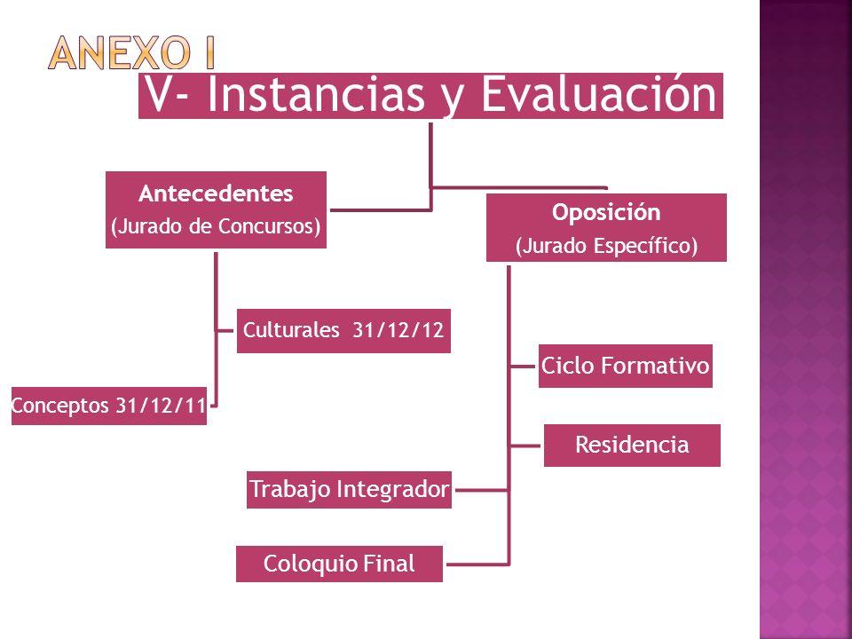 V- Instancias y Evaluación