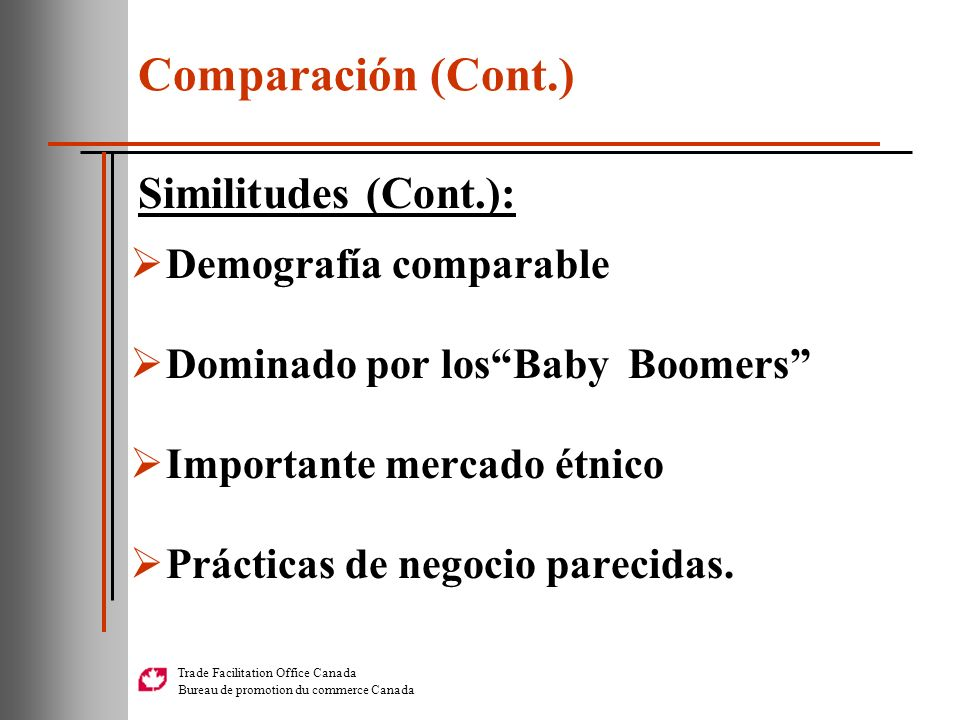 Comparación (Cont.) Similitudes (Cont.): Demografía comparable